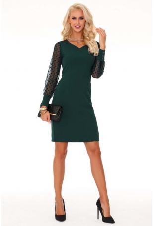 Ciemno Zielona Wizytowa Sukienka z Tiulowym Rękawem