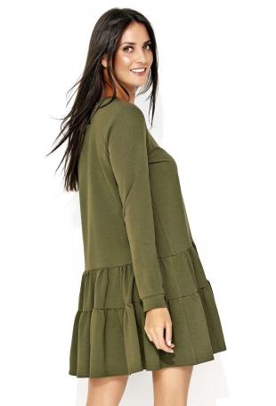 Khaki Dresowa Sukienka z Szerokimi Falbankami na Dole