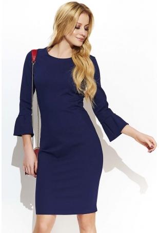 Granatowa Klasyczna Dopasowana sukienka z Poszerzanym Rękawem