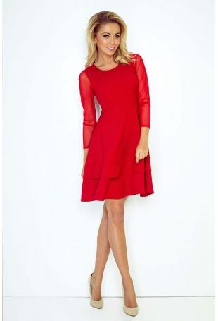 Czerwona Sukienka Wizytowa Rozkloszowana z Transparentnymi Rękawami