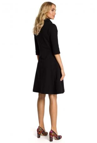 Czarna Sukienka z Półgolfem na Suwak