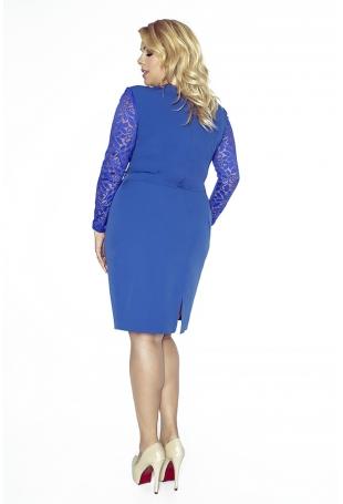 Niebieska Koronkowa Sukienka Kopertowy Dekolt Plus Size