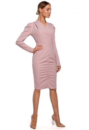 Ołówkowa Sukienka z Marszczeniem na Spódnicy - Pudrowa
