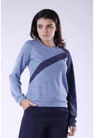 Niebiesko Granatowa Dwukolorowa Nierozpinana Bluza w Sportowym Stylu