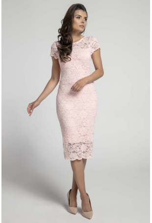 Jasnoróżowa Koronkowa Ołówkowa Sukienka Midi z Dekoltem V na Plecach