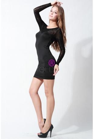 Wyjściowa Czarna Sukienka z Koronkowym Rękawem