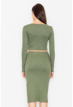 Zielony Dwuczęściowy Komplet Krótka Bluzka + Ołówkowa Midi Spódnica