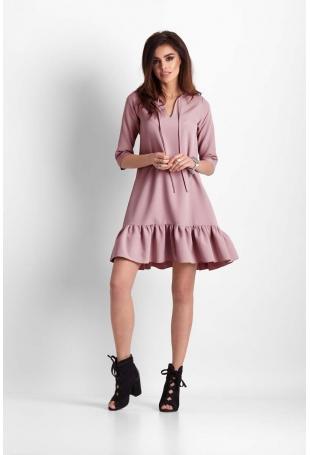 Różowa Trapezowa Sukienka z Falbanką