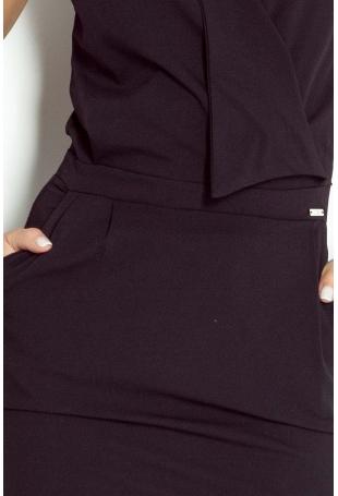 Czarna Sukienka Mini z Zakładanym Dekoltem