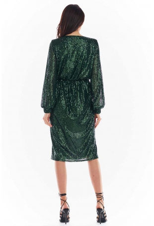 Cekinowa Sukienka Zakładana Kopertowo - Zielona