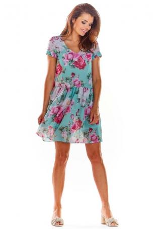 Zielona Zwiewna Sukienka w Kwiatowy Wzór z Dekoltem V