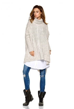 Beżowy Asymetryczny Swobodny Sweter w Warkocze z Golfem