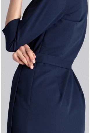 Granatowa Klasyczna Kopertowa Sukienka z Paskiem