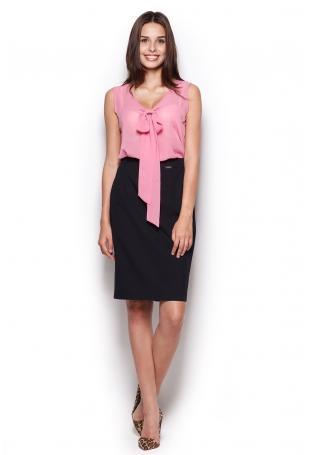 Różowa Pastelowa Bluzka z Krawatem