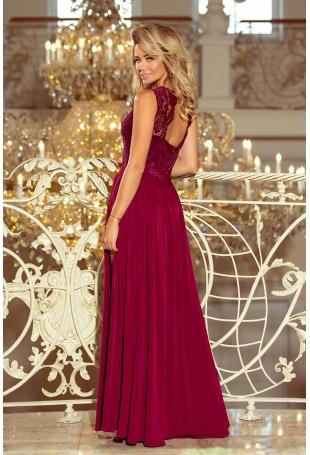 Bordowa Wieczorowa Sukienka Maxi z Koronkową Górą bez Rękawów