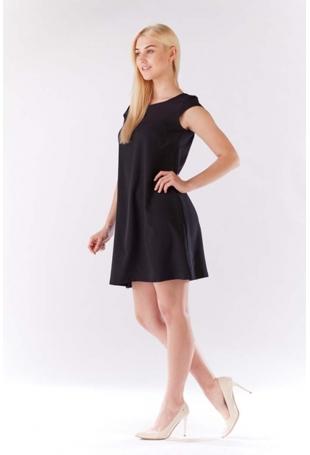 Czarna Sukienka Zwiewna Trapezowa z Mini Rękawkiem