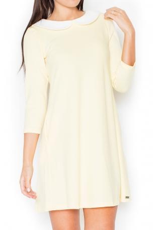 Żółta Wizytowa Sukienka z Białym Kołnierzykiem