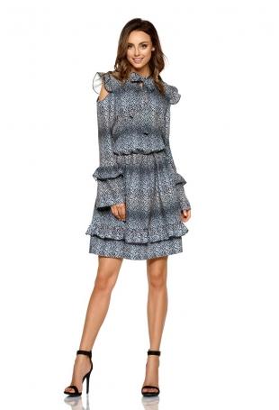 Wzorzysta Sukienka w Liście z Falbankami Typu Cold Shoulder