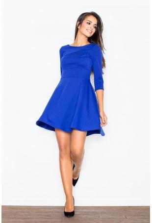 Niebieska Elegancka Sukienka z Rozkloszowanym Dołem
