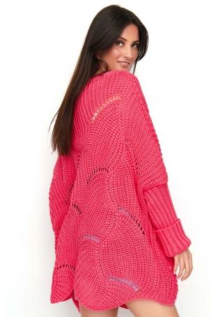Arbuzowy Sweter-Ponczo z Warkoczowym Splotem