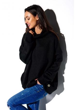 Czarny Oversziowy Sweter z Golfem