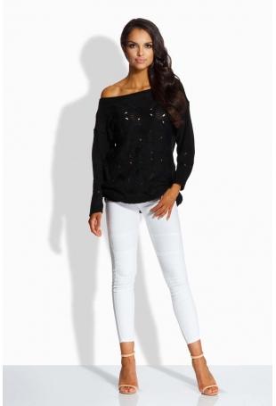 Czarny Sweter z Ażurowym Wzorem