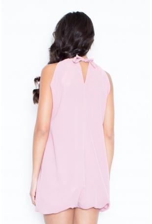 Różowa Mini Sukienka Tunika Bombka z Kwiatem