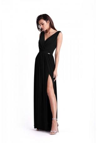 Czarna Kopertowa Maxi Sukienka z Rozcięciem na Nodze