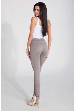 Szare Dopasowane Spodnie z Eko - Zamszu
