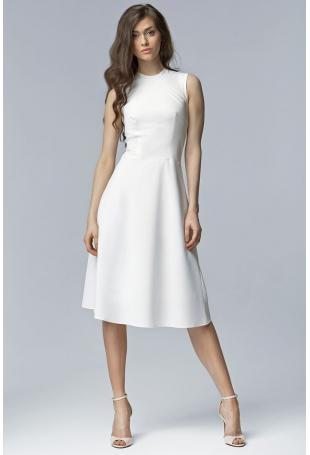 Ecru Elegancka Rozkloszowana Midi Sukienka bez Rękawów