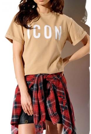 Bawełniany T-shirt z Napaisem ICON - Beżowy