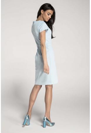 Błękitna Elegancka Dopasowana Sukienka z Kopertowym Dołem