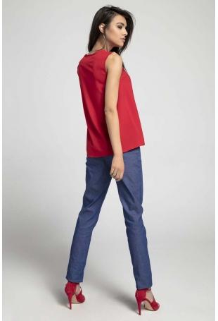 Czerwona Zwiewna Bluzka bez Rękawów z Dekoracyjnym Wiązaniem