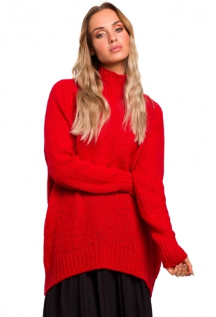 Czerwony Luźny Sweter z Półgolfem