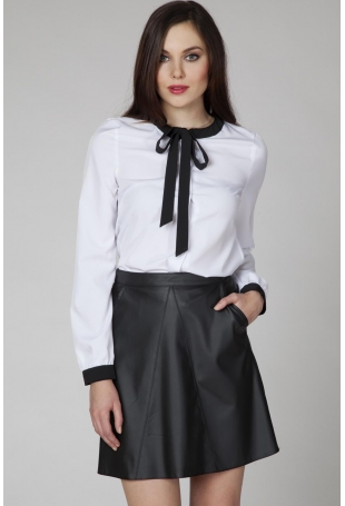 Biała Wizytowa Koszula z Kontrastową Wiązaną Kokardą
