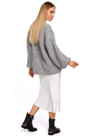 Szary Sweter Oversize z Dekoltem w Serek z Połyskującej Przędzy