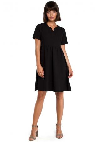 Czarna Rozkloszowana Sukienka Mini Odcinana pod Biustem