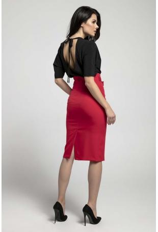 Czerwona Elegancka Ołówkowa Spódnica z Ozdobną Kokardą