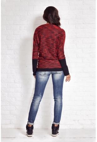 Bordowy Melanżowy Sweter z Szerokimi Mankietami
