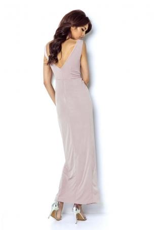 Różowa Wieczorowa Sukienka z Głębokim Dekoltem V