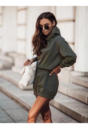 Sukienka Sportowa z Kapturem - Khaki