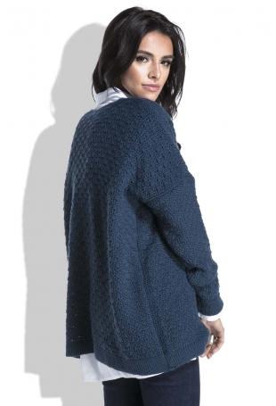 Granatowy Luźny Sweter z Dekoltem V