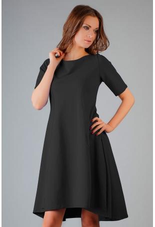 Czarna Elegancka Rozkloszowana Sukienka z Wydłużonym Tyłem