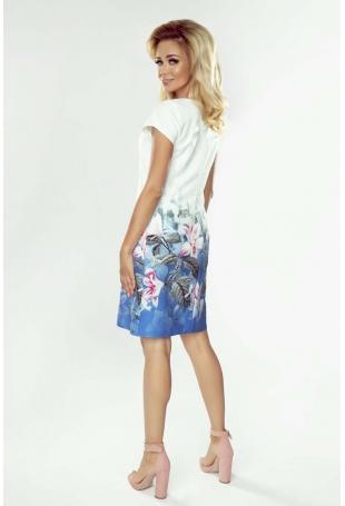 Biała Wizytowa Sukienka z Roślinnym Nadrukiem