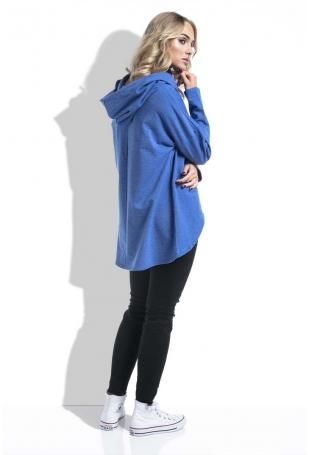 Chabrowa Bluza Asymetryczna Melanżowa z Kapturem