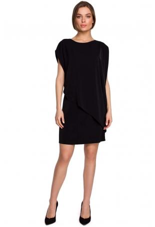 Krótka Dwuwarstwowa Sukienka - Czarna