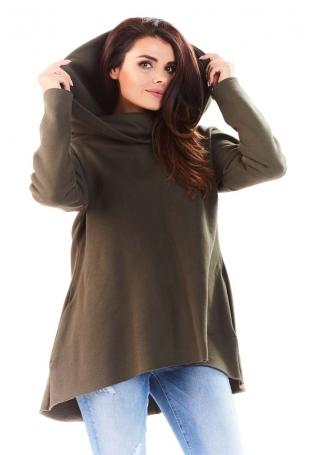 Khaki Bluza Asymetryczna z Kapturem