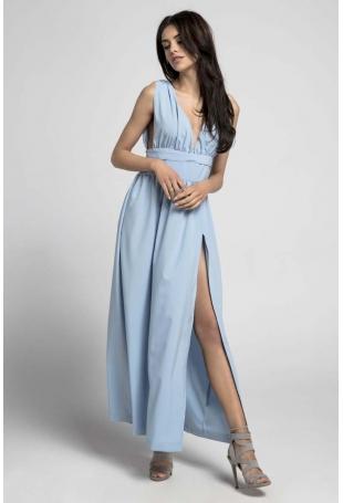 Błękitna Maxi Sukienka z Dekoltem w Kształcie Litery V