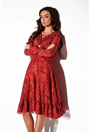 Wzorzysta Sukienka Sznurowana przy Dekolcie - Druk 1