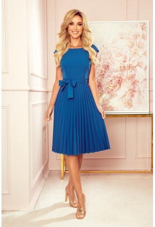 Elegancka Sukienka z Plisowanym Dołem - Morska